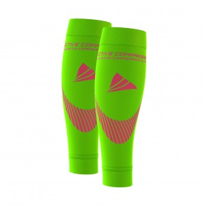 PERFORMANCE CALF SLEEVES – extra strong - grün/pink