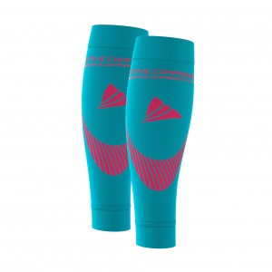 PERFORMANCE CALF SLEEVES – extra strong - türkis/pink