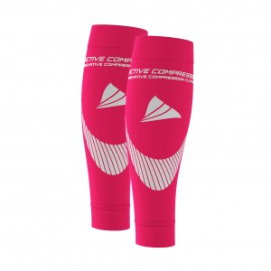 PERFORMANCE CALF SLEEVES – extra strong - pink/silber