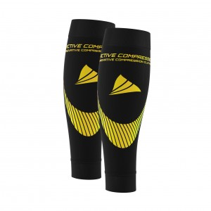 PERFORMANCE CALF SLEEVES – extra strong - schwarz/gelb