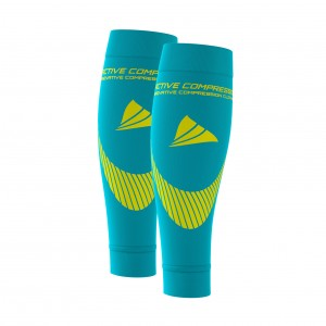 PERFORMANCE CALF SLEEVES – extra strong - türkis/gelb