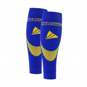 PERFORMANCE CALF SLEEVES – extra strong - blau/gelb