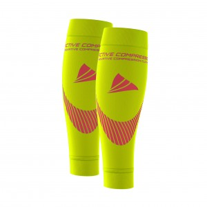 PERFORMANCE CALF SLEEVES – extra strong - gelb/pink