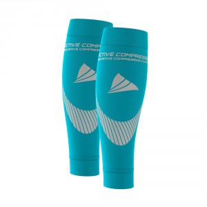 PERFORMANCE CALF SLEEVES – extra strong - türkis/silber