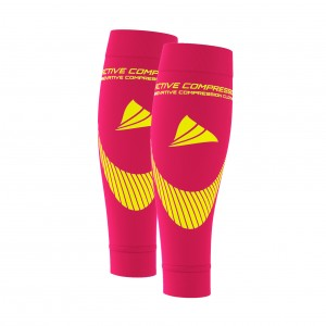 PERFORMANCE CALF SLEEVES – extra strong - pink/gelb
